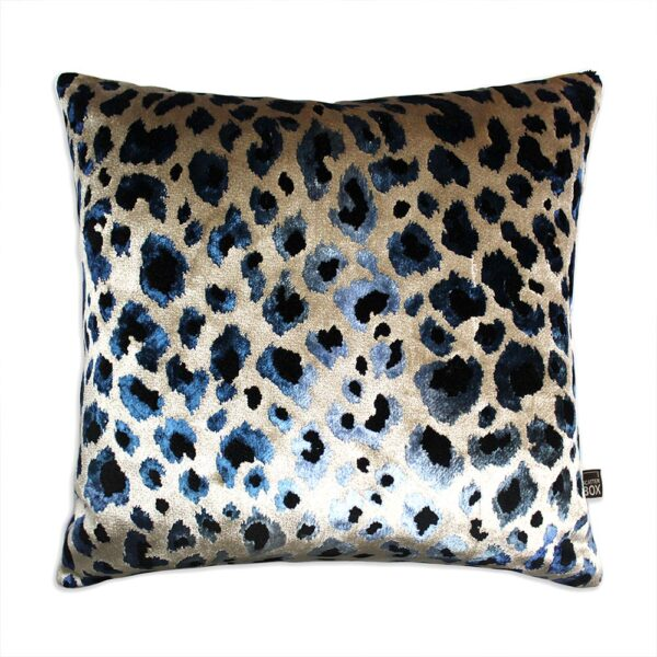 love-frankie-leopard-print-velvet-cushion-in-electric-blue-and-sand