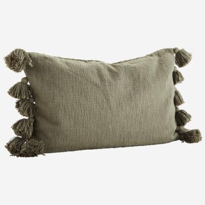 love-frankie-olive-green-tasselled-cotton-cushion