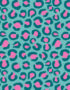 Close up of our Bubble Berry Turquoise Neon Leopard Print Fabric