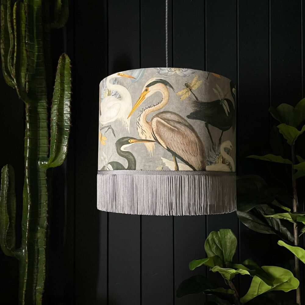 The Tranquil Bird Song Heron Lampshade With Fringing