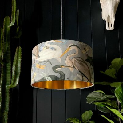 The Tranquil Bird Song Heron Lampshade With Gold Lining