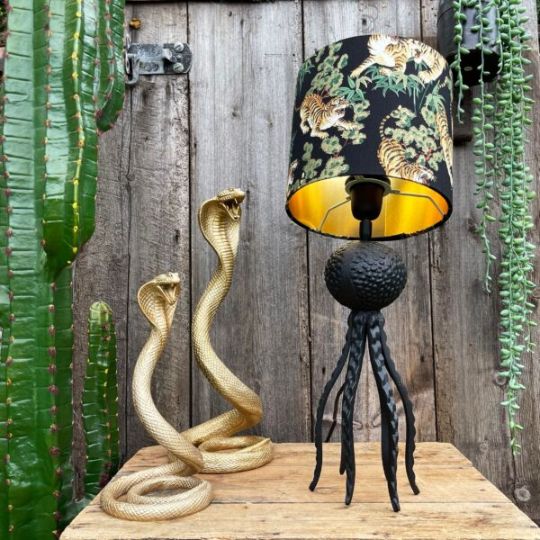 Large Black Octopus Lamp with Mini Bamboo Tiger Lampshade