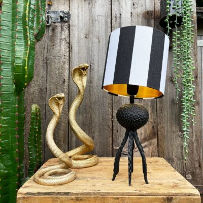 Small Black Octopus Lamp with Mini Beetlejuice Black and White Lampshade