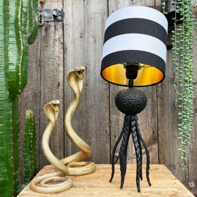 Large Black Octopus Lamp with Mini Bah Humbug Black and White Lampshade