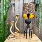 Large Black Octopus Lamp with Mini Leopard Print Lampshade