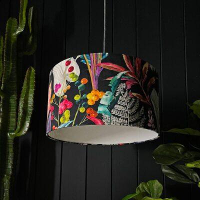 Trippy Tropical Acid Jungle Velvet Lampshade