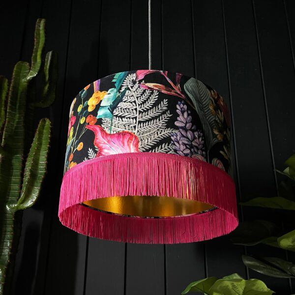 Trippy Tropical Acid Jungle Velvet Lampshade With Gold Lining and Pink Fringing