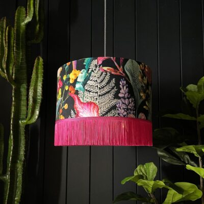 Trippy Tropical Acid Jungle Velvet Lampshade With Pink Fringing