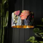 Trippy Tropical Acid Jungle Velvet Lampshade With Gold Lining