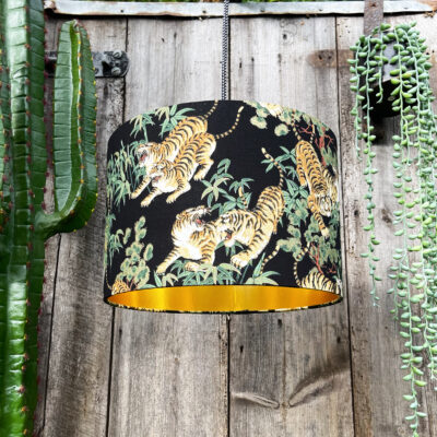 Bamboo Tiger Lampshade with Gold Lining