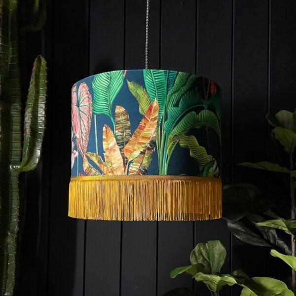 Handmade Tropical Lead Magic Fruits Jungle Lampshade With Fringing