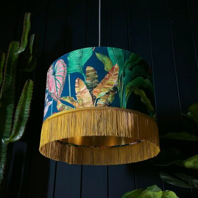 Handmade Tropical Leaf Magic Fruits Lampshade With Gold Lining and Fringing