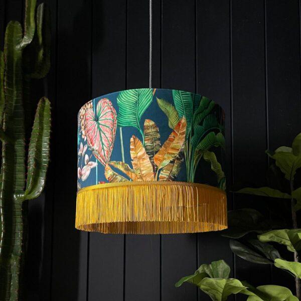 Handmade Tropical Leaf Magic Fruits Lampshade With Fringing