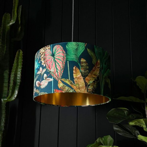 Handmade Tropical Leaf Magic Fruits Lampshade With Gold Lining