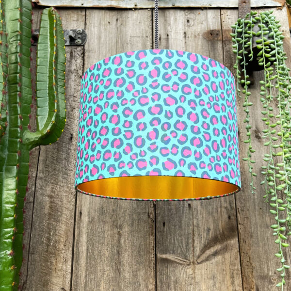 Gold Lined Neon Leopard Print handmade Lampshade in Turquoise.