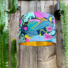 Serpent Jungle handmade Lampshade with Gold lining