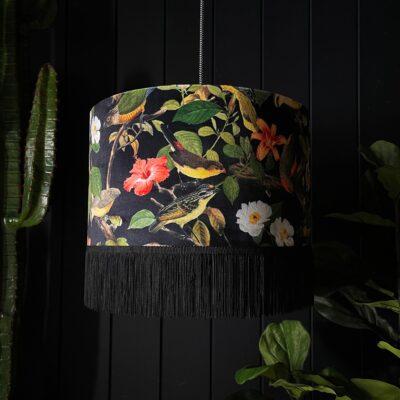 Shadow Crawler Bird inspired Lampshade With Luscious dark fringing