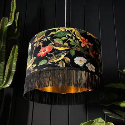 Shadow Crawler Bird inspired Lampshade With Luscious dark fringing And Metallic Gold Lining