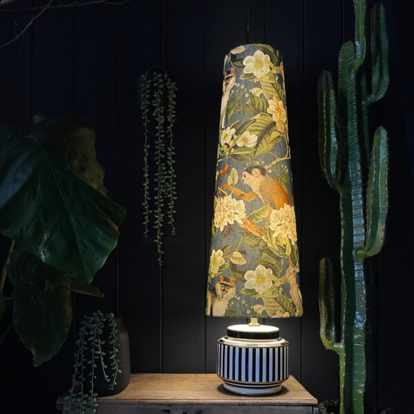 Monkey Puzzle Oversized Cone Lampshade With the light turned on