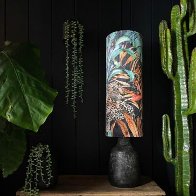 Handmade Tropical Jungle Leopard Fable Tall Tube Lampshade