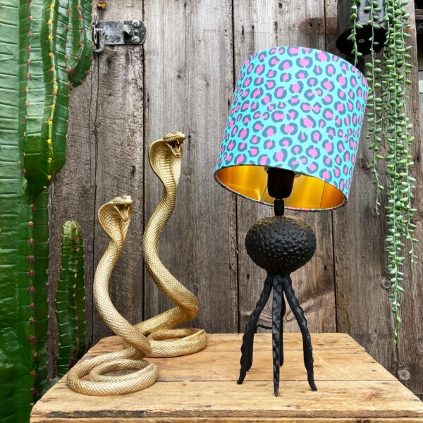 Small Black Octopus Lamp with Mini Neon Leopard Lampshade