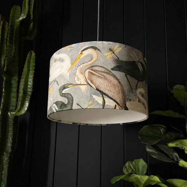 The Tranquil Bird Song Heron Lampshade
