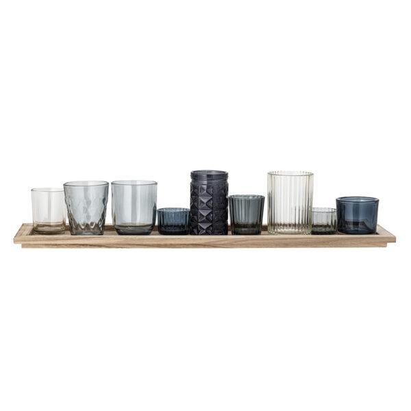 Blue Tea Light Set on Wooden Tray