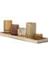 Amber Tea Light Set on Wooden Tray