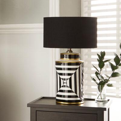 Monochrome Black and White Geometric Statement Lamp