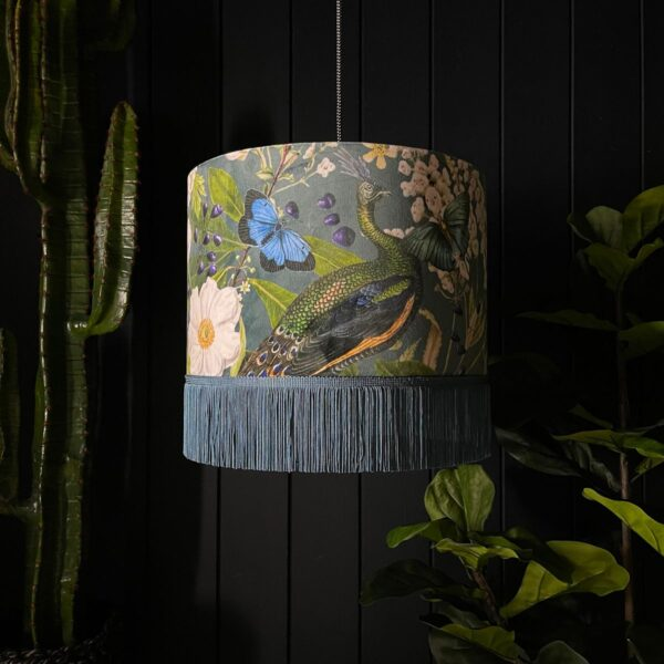 Handmade Peacock Floral Mystical Plumes Lampshade With Fringing
