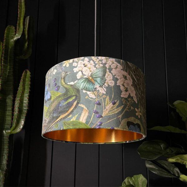 Handmade Peacock Floral Mystical Plumes Lampshade With Gold Lining