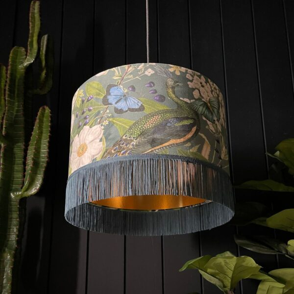 Handmade Peacock Floral Mystical Plumes Lampshade With Gold Lining and Fringing