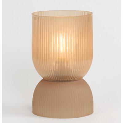 Peach Pink Glass Table Lamp