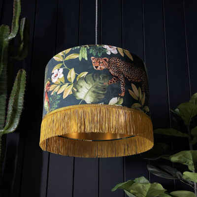 Handmade Tropical Jungalist Massive Leopard Lampshade with gold lining and fringing