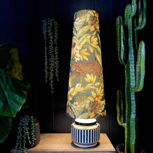 Jungalist Massive Oversized Cone Leopard Lampshade. Shown here with the light turned on.