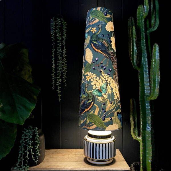 Mythical Plumes Peacock Oversized Cone Lampshades. Shown here with the light turned on