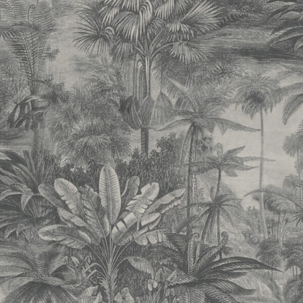Rugged Rainforest Tropical Jungle Vintage Wallpaper In Charcoal