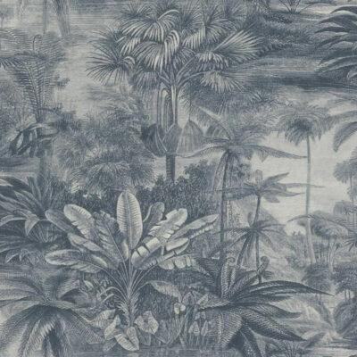 Rugged Rainforest Tropical Jungle Vintage Wallpaper In Blue