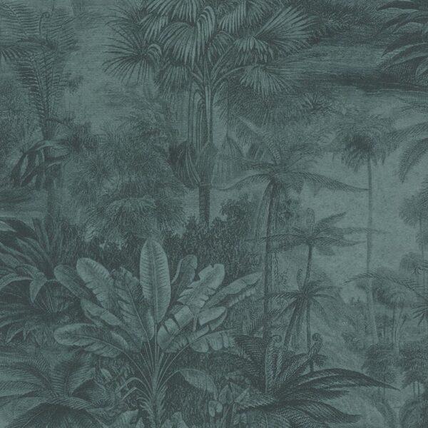 Vintage Rainforest Wallpaper In Ocean Blue