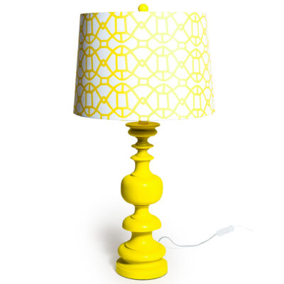 Quirky Yellow Wavy Lamp Base with Matching Lamp Shade