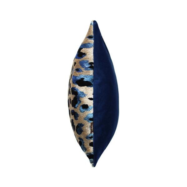 Leopard Print Bolster Cushion in Electric Blue and Sand
