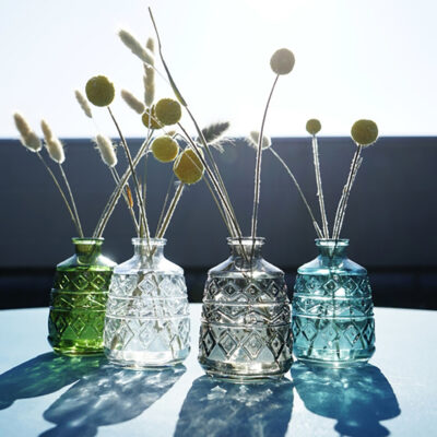 Glass Vases in Smokey Grey, Aqua Blue, Clear and Forest Green