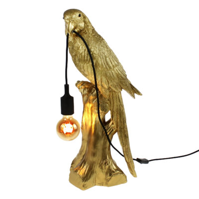 Gloriously Gold Parrot Lamp