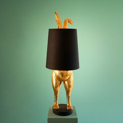 Hiding Bunny Quirky Lamp Base with Black Lampshade