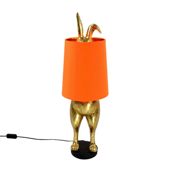 Hiding Bunny Quirky Lamp Base with Orange Lampshade