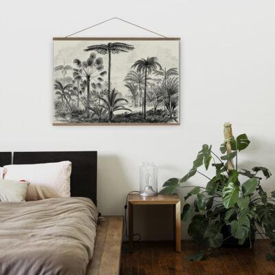 Vintage Palm Jungle Monochrome Wall Hanging