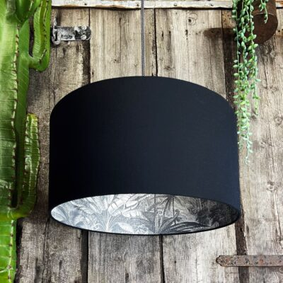 Charcoal Rainforest Silhouette Lampshade in Jet Black Cotton