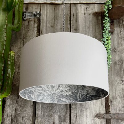 Charcoal Rainforest Silhouette Lampshade in Cloud Grey Cotton