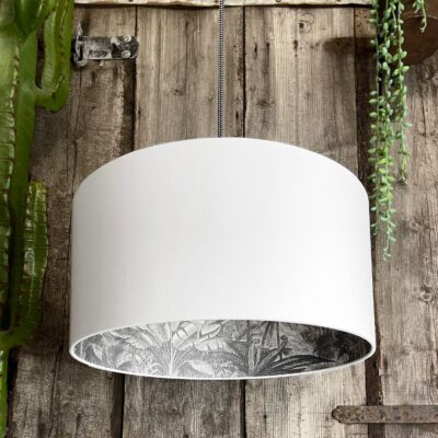 Charcoal Rainforest Silhouette Lampshade in Crisp White Cotton