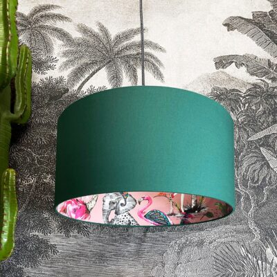 Pink ChiMiracle Lampshade In Hunter Green